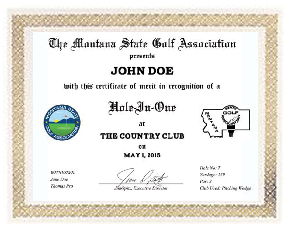 hole in one certificates montana state golf association